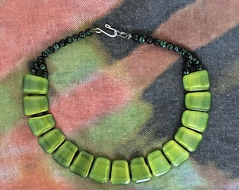 Black/Green Bead Lucite Necklace, Vintage 1980s Green Lucite Statement Necklace, Vintage Necklace, Gift for Mom