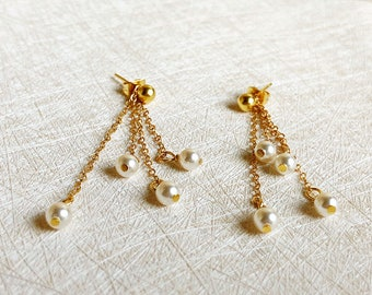 Natural Pearl Gold staggered fringed,two  methods of wearing earrings,Simplicity and Lovely