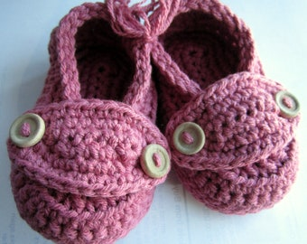Crochet Cotton Baby Booties Little Button Loafers You choose size and colors Size 3 months Ready to Ship