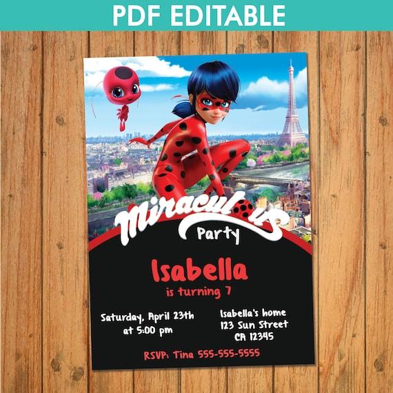 INVITACIÓN LADYBUG PRODIGIOSA Pdf Editable