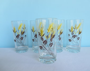 Vintage Yellow Wheat Glasses - Large Yellow and Brown Tumblers - Heavy Glass - Ice Tea Glass