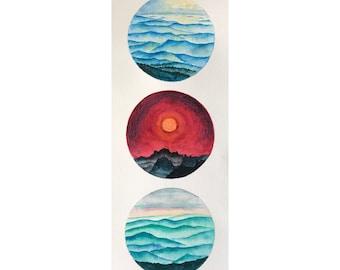 3 watercolor landscape,small landacape paintings,original watercolor painting round painting