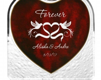 Engraved Lovebirds Acrylic Heart with Inlaid Rosewood Inscription