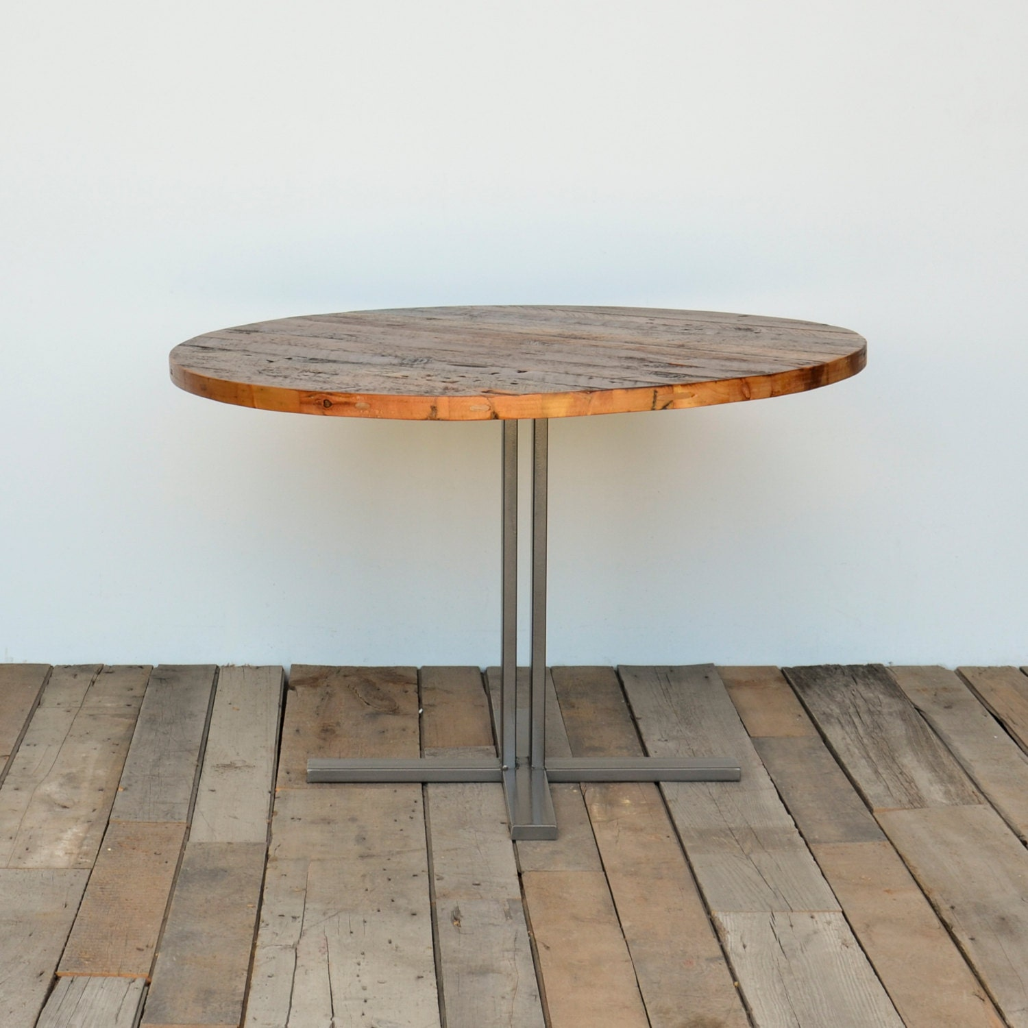 Round pedestal dining table in reclaimed wood and steel legs zoom workwithnaturefo