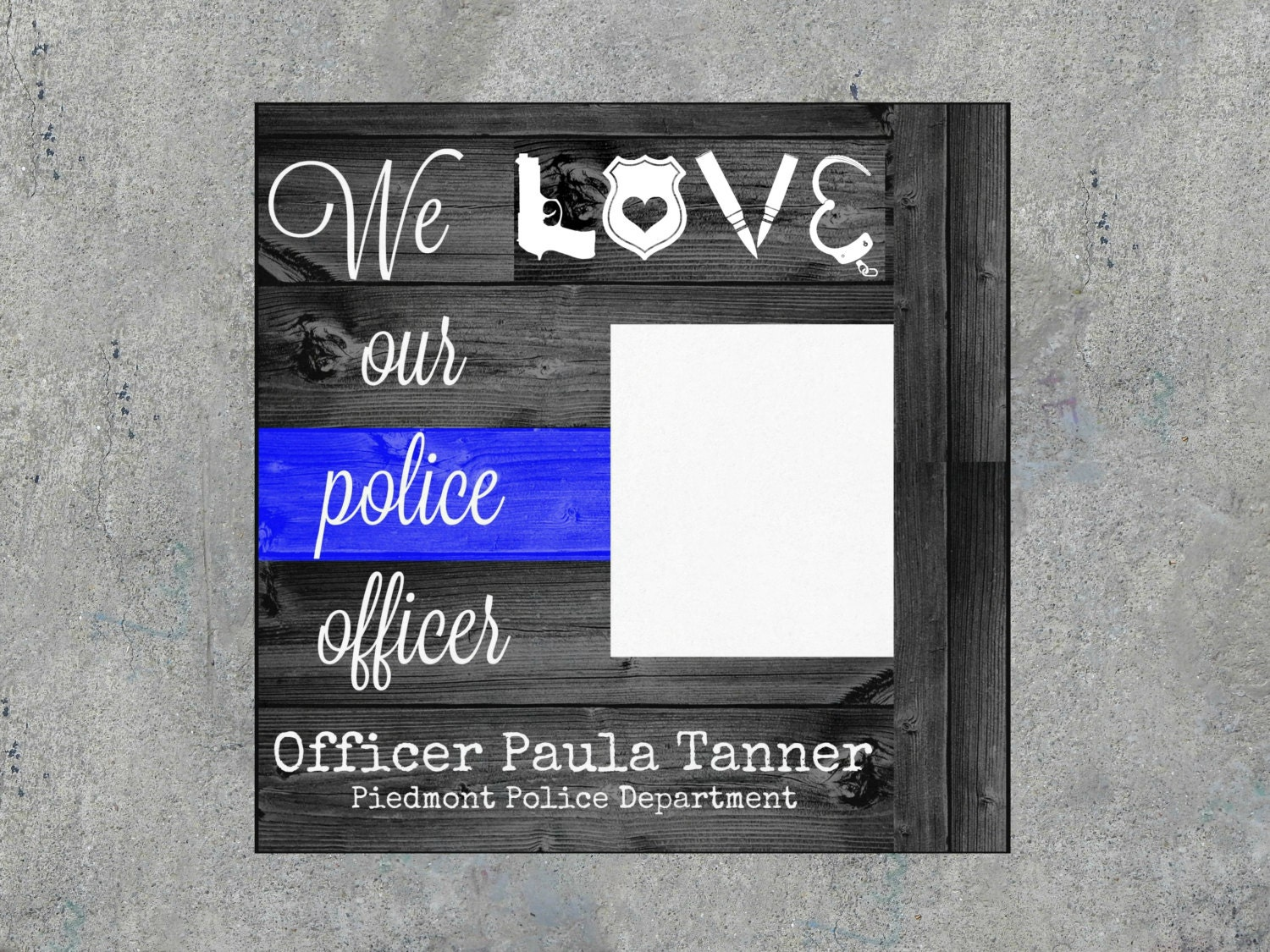 Personalized police officer picture frame thin blue line zoom jeuxipadfo Choice Image