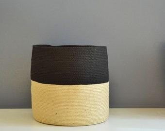 Large basket with cotton rope in black and jute, Handmade basket, Floor basket, Jute twine basket, woven basket, storage basket