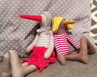 Stuffed geese doll , bird Eco doll , duck huggable toy , Stuffed Animal , Textile bird , Stuffed Animal , Baby Bird Doll , Nursery Decor