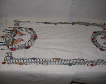 Vintage table runner hand embroidered parrots long