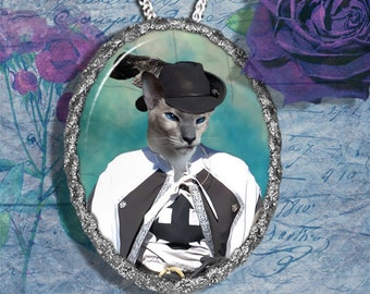 Siamese Cat Jewelry Pendant Necklace - Brooch Handcrafted Ceramic