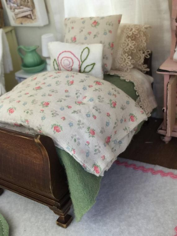 Paula Custom order - Miniature Dollhouse Rose Garden Twin sized Bedding- 1:12 scale