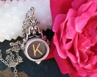 Typewriter Key Jewelry, Typewriter Necklace Letter K, Typewriter Charm Necklace Initial K
