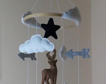 Adventure baby mobile -stag , mountain, polar bear, arrow, star, clouds