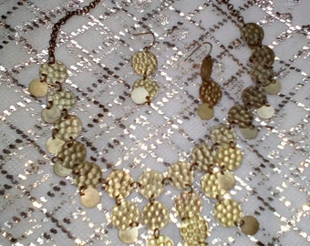 Gold coin necklace+earrings set