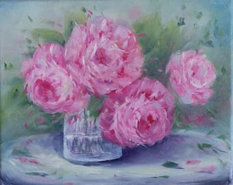 Pink Peonies, Valentine's Day, Still Life, 8 x 10, original oil painting