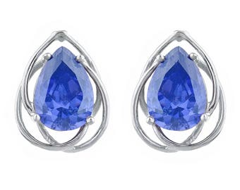 4 Ct Tanzanite Pear Teardrop Design Stud Earrings .925 Sterling Silver