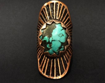 Turquoise Copper Ring - Rayed Shield Ring - Adjustable - handmade in Austin, Texas - Jamie Spinello