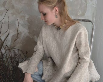 Sweater, wool, flax, OOAK, handmade, minimalistic, scandinavian handicraft, linen, felted