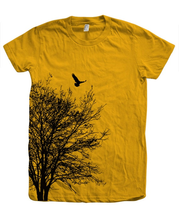 Tree t shirt women crew neck hand screen print american for American apparel custom t shirts