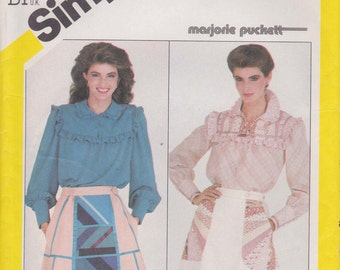 Patchwork Skirt Pattern Lined and Back Wrap, Pullover Ruffle Blouse 1982 Uncut Size 16 Simplicity 5477