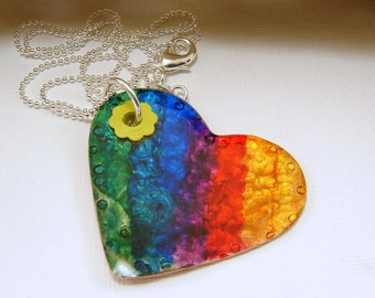 Rainbow Heart Pendant Necklace - Red Brass or Copper