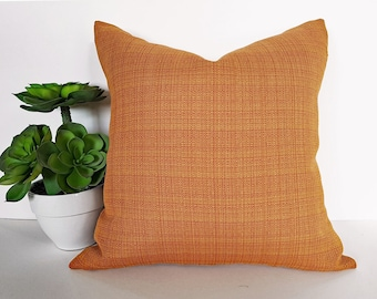 Solid Orange Pillow, Orange Throw Pillows, Pillow Covers, Accent Pillow, Orange Cushion, Tweed, Weave, Textured, Pumpkin, FREE SHIPPING, NEW