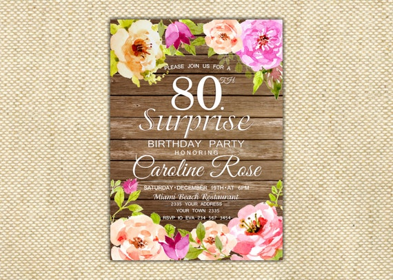 80th birthday invitation surprise birthday party invitation like this item filmwisefo Image collections