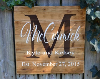 Custom Name Sign, Cedar Last Name Wood Sign, Rustic Family Established Pallet Sign, Personalized Name Sign, Personalized Wedding Gift
