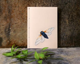 Cicada. Embroidered A6 Notebook. Cicada Notepad. Garden Mini Journal. Pocket Journal. Nature Jotter. Cute Cicada. Summer Notepad. Entomology
