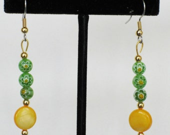 Yellow Mother of Pearl and Green Millefiori Earrings