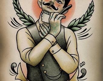 Traditional tattooed barber tattoo art print for Boston barber tattoo