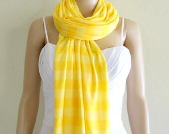Striped Shawl. Yellow Striped Long Scarf. Wrap Scarf. Soft Cotton Spandex Scarf.
