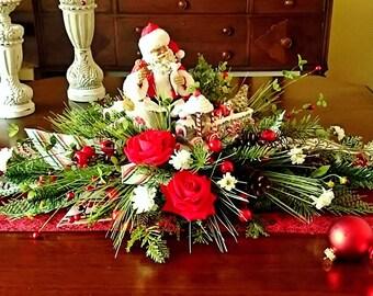 Christmas Centerpiece, Christmas Floral Arrangements, Holiday Centerpieces, Holiday Home Decor, Silk Flower Centerpiece, Santa Decor    A123