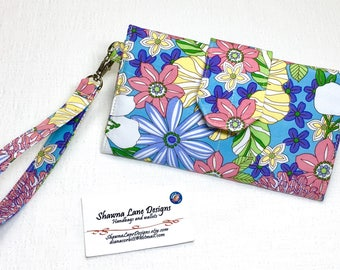 women's wallet, purple retro floral print wallet, trifold wallet, organizer wallet, checkbook, cell phone accessory, wristlet, women's gift
