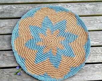Jute round rug crochet - Door mat Entrance rug - Crochet outdoor rug Deck Patio decor - Carpet natural jute