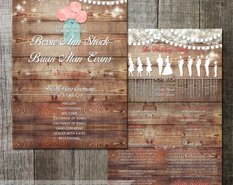 Rustic Wedding Program with wedding party silhouettes and wedding details Mason Jar, lace and hanging lights for a country rustic wedding
