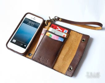 iPhone SE 5 5s Leather Wallet with Double Snap Buttons Hand Strap [Handmade] [Custom Colors]