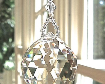 "Large 40mm Clear Swarovski Logo-Etched Crystal Ball, Prism, Suncatcher, Rainbow Maker, Window Decoration - ""SIMPLICITY GRANDE"""