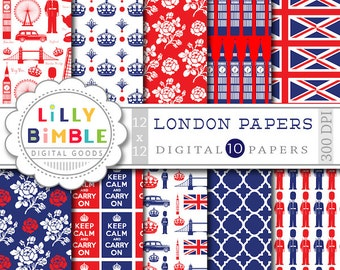 LONDON digital papers for scrapbooking, cards, invites, parties INSTANT DOWNLOAD