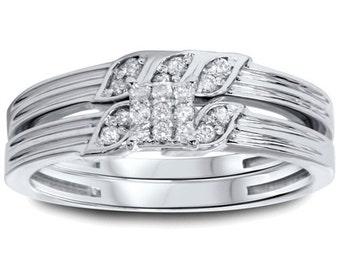 1/4CT Diamond Engagement Wedding Ring Set 10K White Gold