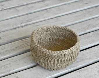 Crocheted Bowl Table Decor,  Hostess Gift, Jute Crochet Storage Basket, Trinket Holder Primitive Natural Jute Home Decor