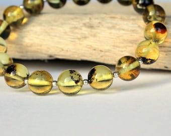 Lemon amber bracelet, amber and silver, amber jewelry, natural Baltic amber, lemon round amber beads, amber balls, natural amber beads