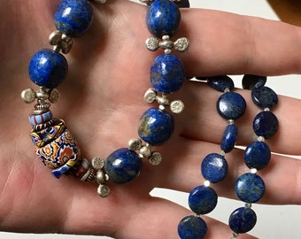 Lapis Lazuli Necklace, Tribal Necklace, Vintage African Trade Bead Necklace, Hill Tribe Silver Necklace, Boho Necklace, Tribal Jewelry