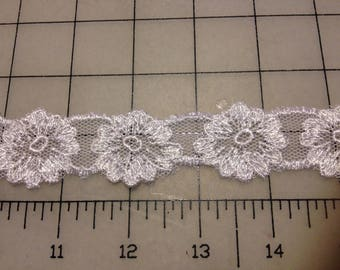 White Schiffli Embroidered Lace Trim for Bridal, Apparel or Crafts  Item #6103