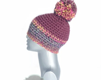 Plum Chunky Beanie with Pom, Purple and Pink Crochet Hat, Striped Winter Beanie With Puff, Pom Pom Knit Cap, Pink Ski Cap, Winter Hat