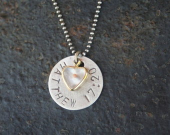 Faith the Size of a Mustard Seed Small Heart Lucite Hand Stamped MATTHEW 17:20 Sterling Silver Necklace