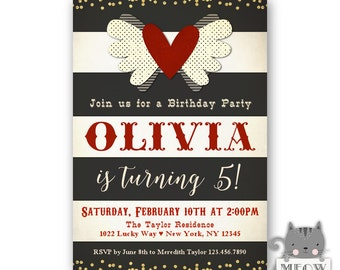 5th Birthday Invitations for Girls, Red and White Heart theme, Gold Glitter Confetti, Kids Birthday, Valentines Birthday, Printable/Printed