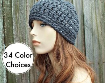 Graphite Tweed Grey Beanie Grey Hat - Grey Crochet Hat Grey Womens Hat Grey Mens Hat - Warm Winter Hat - 34 Color Choices