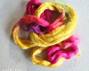 Hand Dyed Cultivated Silk / Bombyx Silk / Mulberry Silk / Silk Fiber / Spinning / Felting / Bright Pink / 1/8 Oz / Silk Roving / Multi