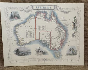 Map of Australia Print--Reproduction Print of John Tallis' 1851 Map of Australia--Colored Map of Australia