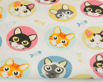 100% cotton fabric piece 160 x 50 cm, textile printing, 100% cotton pink, yellow cats in a circle on